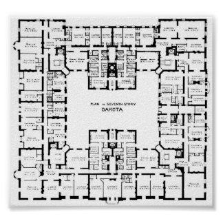 Plan de piso histórico del edificio de Dakota Póster