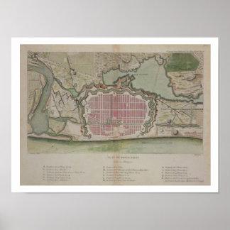 Plan de Pondicherry, del 'viaje Indes aux. y del l Póster