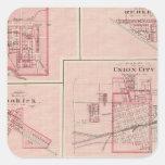Plan de Portland, Jay Co, Ind con Camden Pegatina Cuadrada