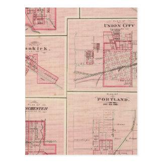 Plan de Portland, Jay Co, Ind con Camden Tarjetas Postales