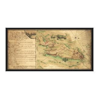 Plan de Rhode Island Map (1778) Canvas Print