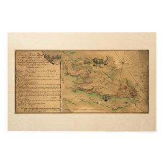 Plan de Rhode Island Map (1778) Wood Wall Art