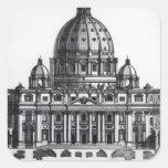 Plan de San Pedro, Roma, grabada cerca Calcomanía Cuadradas Personalizada