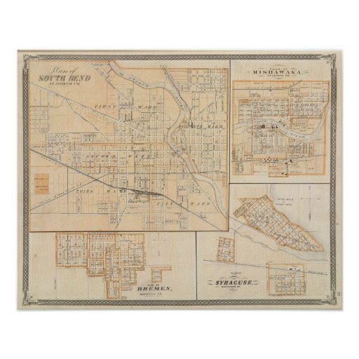 Plan de South Bend con Mishawaka Poster