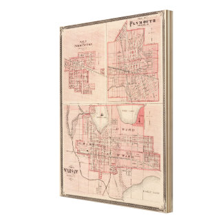 Plan de Varsovia con Pierceton, Plymouth Lona Envuelta Para Galerias