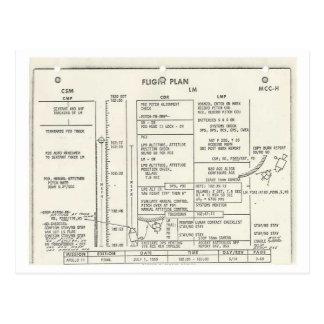 Plan de vuelo de Apolo 11 del vintage Postal