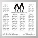 Plan del asiento de la cena de boda de los pingüin poster