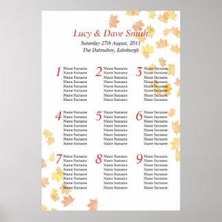 Plan del asiento de la tabla del boda de la hoja d poster