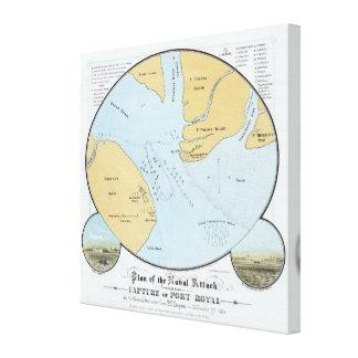 Plan del ataque y de la captura navales del puerto lienzo envuelto para galerías