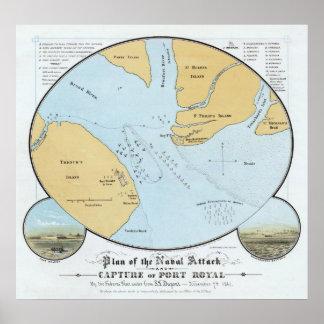 Plan del ataque y de la captura navales del puerto posters