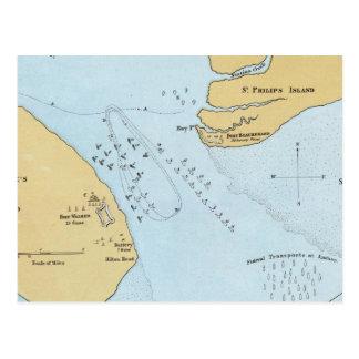 Plan del ataque y de la captura navales del puerto tarjetas postales