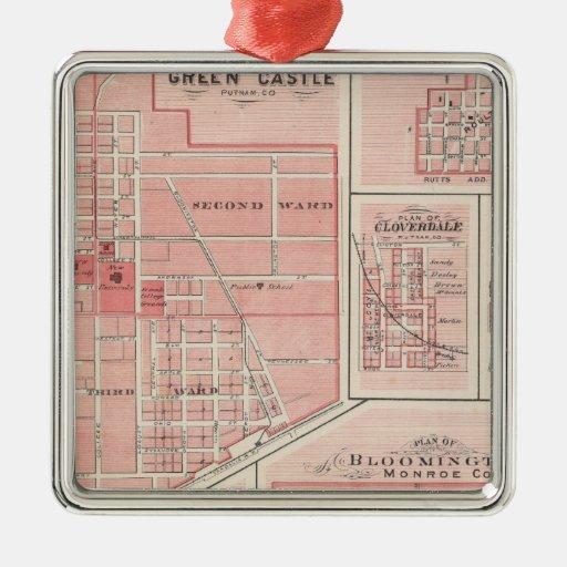 Plan del castillo verde, Putnam Co con Bloomington Adorno Navideño Cuadrado De Metal