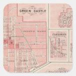 Plan del castillo verde, Putnam Co con Bloomington Pegatina Cuadrada