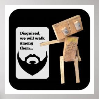 Plan del disfraz de la barba del robot póster
