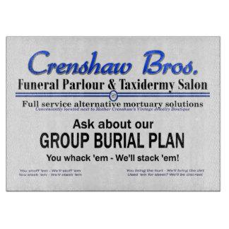 Plan del entierro del grupo tabla para cortar