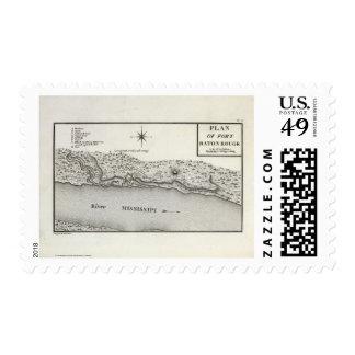 Plan del fuerte Baton Rouge Timbre Postal