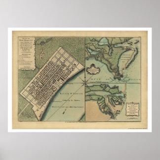 Plan del mapa 1759 de New Orleans Póster