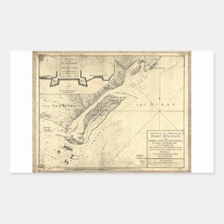 Plan del mapa de Sulivan del fuerte del ataque (28 Pegatina Rectangular