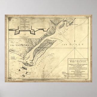 Plan del mapa de Sulivan del fuerte del ataque (28 Póster