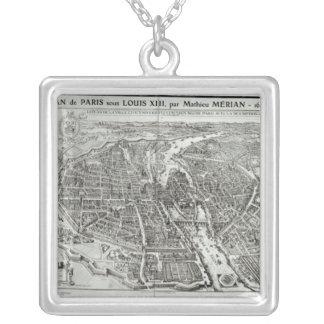 Plan del ojo del pájaro de París, 1615 Colgante Cuadrado