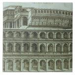 Plan del teatro de Marcelo, Roma, 1558 (engr Azulejo Cuadrado Grande