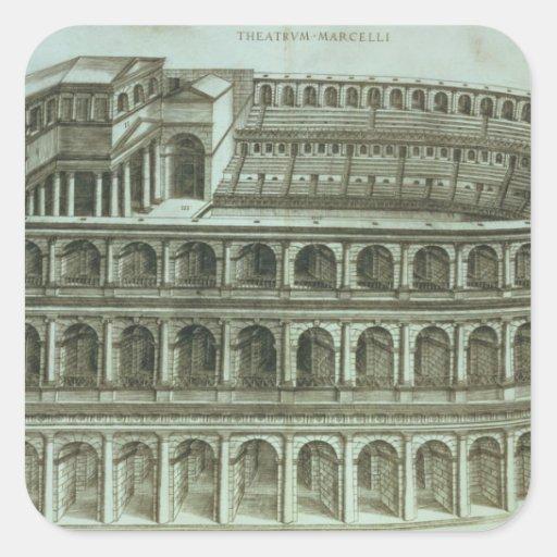 Plan del teatro de Marcelo, Roma, 1558 (engr Pegatina Cuadrada