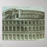 Plan del teatro de Marcelo, Roma, 1558 (engr Póster