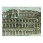 Plan del teatro de Marcelo, Roma, 1558 (engr Tarjeta Postal