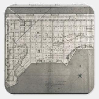 Plan Directeur de la Ville des Cayes 1789 Square Stickers