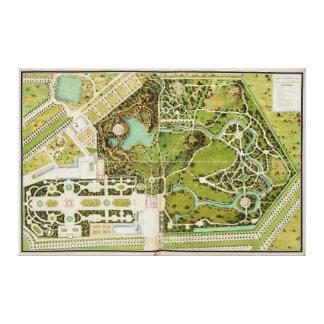 Plan du jardin et chateau de la Reine Stretched Canvas Print
