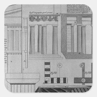 Plan, elevación y detalles de templos dóricos pegatina cuadrada