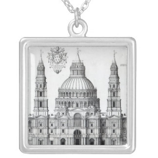 Plan for St. Peter's, Rome, 1539 Square Pendant Necklace