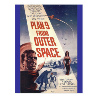 """Plan nine from outer space"""" post cards"""