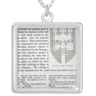Plan of a Tomb at Cervetri Silver Plated Necklace