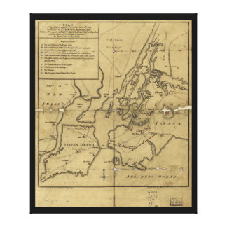 Plan of Attack on Long Island August 27th 1776 Canvas Print