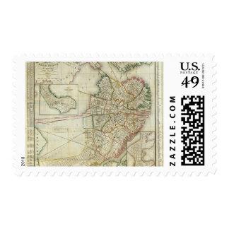 Plan of Boston and Charleston Stamps