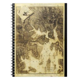 Plan of Boston Map by Henry Pelham (1775-1776) Spiral Notebook