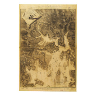 Plan of Boston Map by Henry Pelham (1775-1776) Wood Canvases