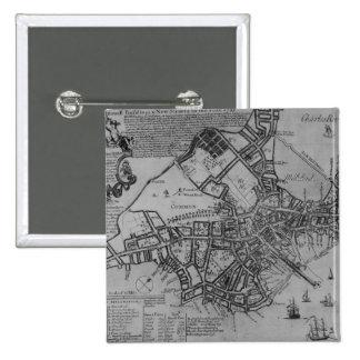 Plan of Boston, New England, 1739 Button