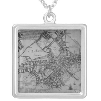 Plan of Boston, New England, 1739 Silver Plated Necklace