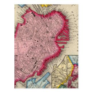 Plan Of Boston Postcard