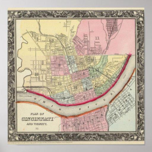 Plan Of Cincinnati And Vicinity Poster