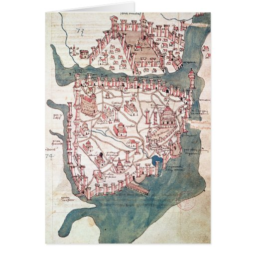 Plan of Constantinople Greeting Card