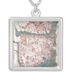 Plan of Constantinople Square Pendant Necklace