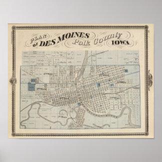 Plan of Des Moines, Polk County, Iowa Print