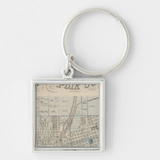 Plan of Des Moines, Polk County, Iowa Silver-Colored Square Keychain