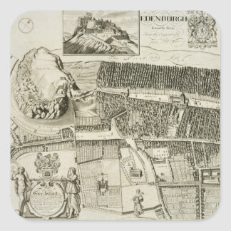 Plan of Edinburgh, pub. by John Smith (c.1652-1742 Square Sticker