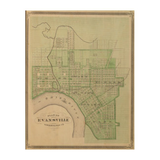 Plan of Evansville, Vanderburgh Co Wood Wall Art
