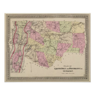 Plan of Grand Isle and Franklin in Vermont Posters