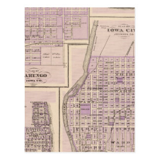 Plan of Iowa City, Plan of Marengo Postcard